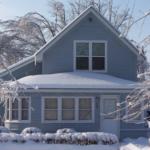 Snowy blue house